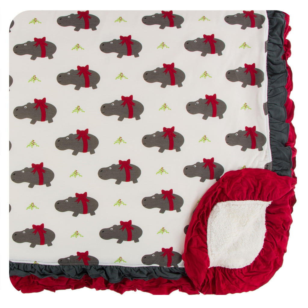KICKEE PANTS WINTER CELEBRATIONS PRESALE SHERPA-LINED DOUBLE RUFFLE TODDLER BLANKET NATURAL CHRISTMAS HIPPO