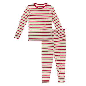 KICKEE PANTS WINTER CELEBRATIONS PRESALE LS PJ SET 2020 CANDY CANE STRIPE