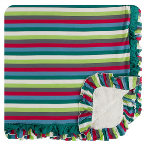 KICKEE PANTS WINTER CELEBRATIONS PRESALE SHERPA-LINED DOUBLE RUFFLE TODDLER BLANKET 2020 MULTI STRIPE
