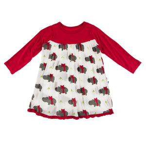 KICKEE PANTS WINTER CELEBRATIONS PRESALE LS SWING DRESS NATURAL CHRISTMAS HIPPO