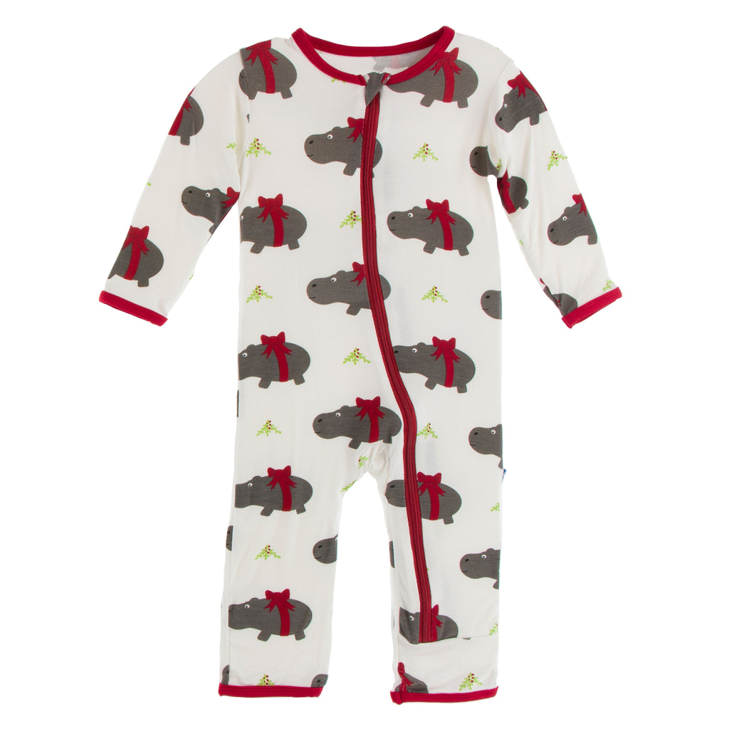 KICKEE PANTS WINTER CELEBRATIONS COVERALL NATURAL CHRISTMAS HIPPO