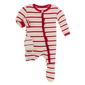 KICKEE PANTS WINTER CELEBRATIONS PRESALE CLASSIC RUFFLE FOOTIE W/ ZIP 2020 CANDY CANE STRIPE