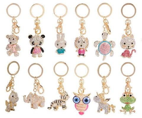 BLING ANIMAL KEYRING ASSORTED