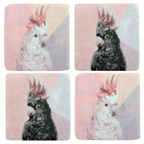 Set 4 Cockatoo B & W Resin Coaster