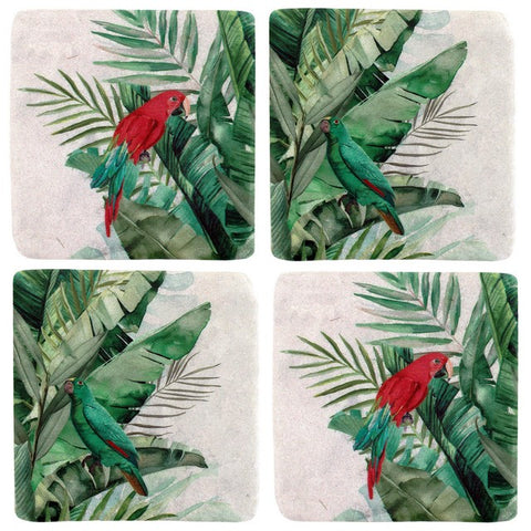 Set 4 Jungle Parrot Resin Coaster