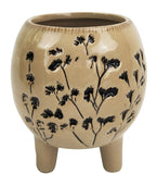AUBREY ROUND FLORAL PLANTER WITH LEGS