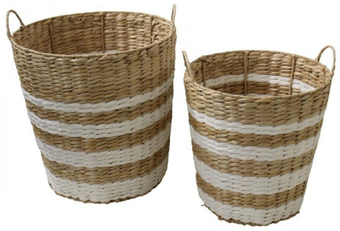 BASKET WH STRIPE S/2