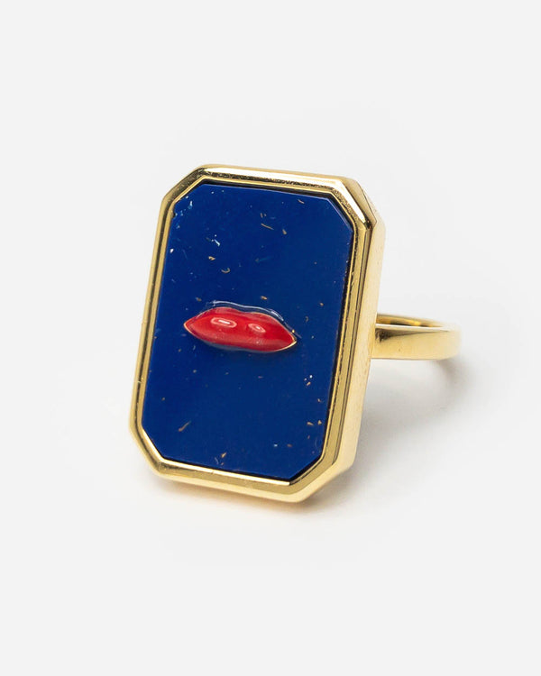 Eshvi Lapis Lips Ring Blau - Main Image