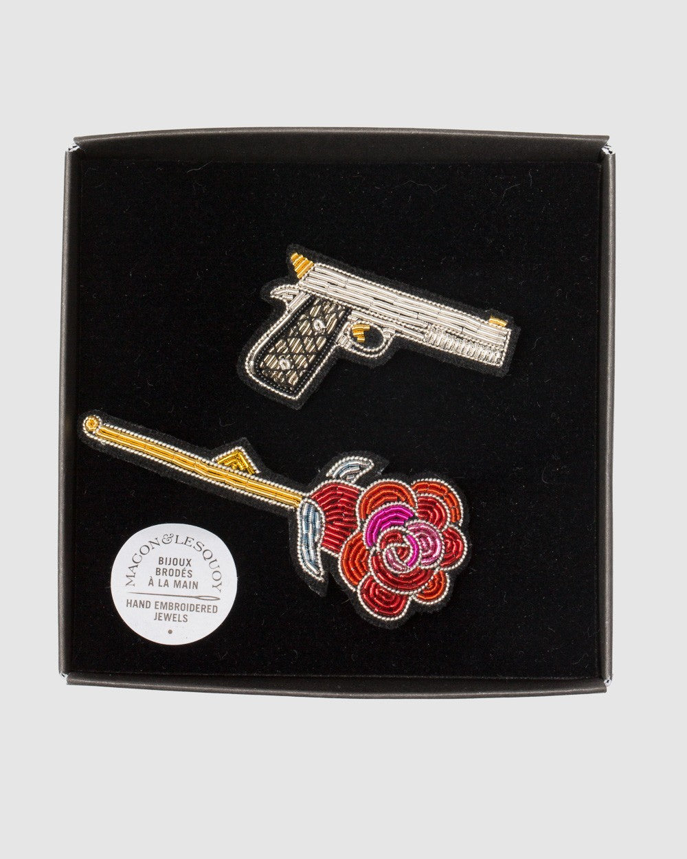 Macon Lesquoy Stickbroschen Set Of 2 Gun And Rose - Detail Image 1
