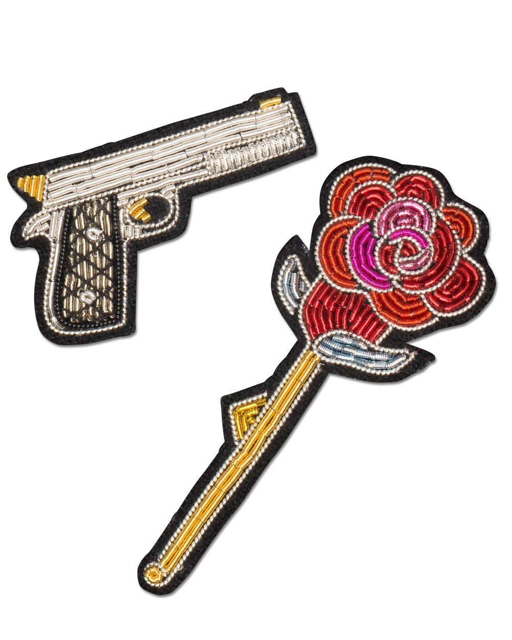 Macon Lesquoy Stickbroschen Set Of 2 Gun And Rose - Main Image