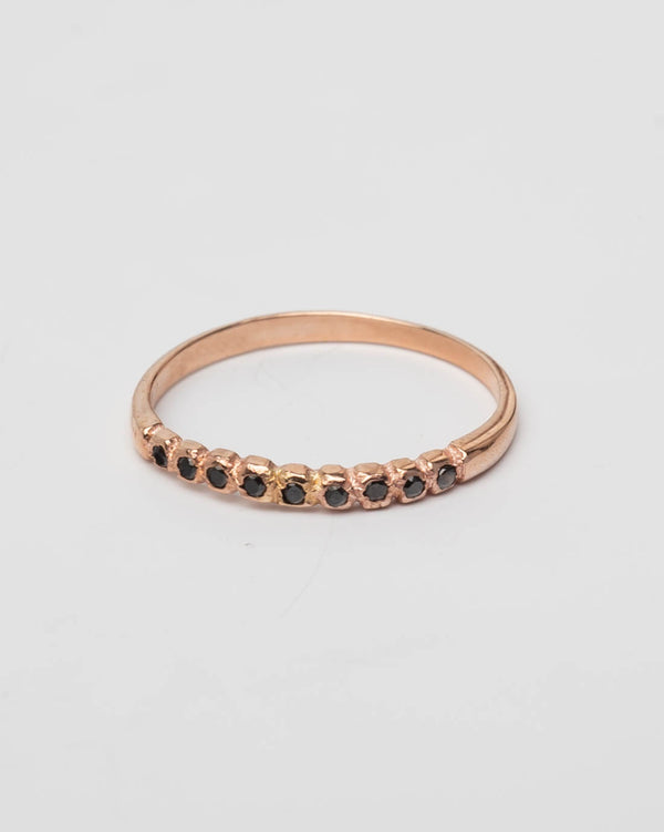 Margova Ring One by One Black - 14 Karat Roségold