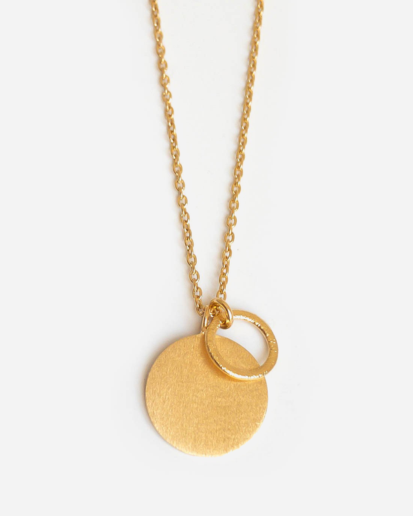 Pernille Corydon Lange Halskette Coin And Circle Gold