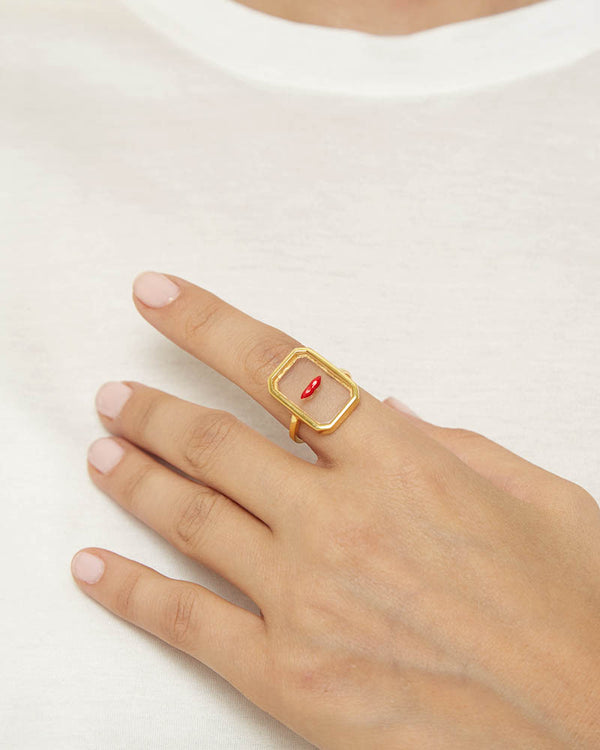 Eshvi Clear Lips Ring Gold- Detail Image 1