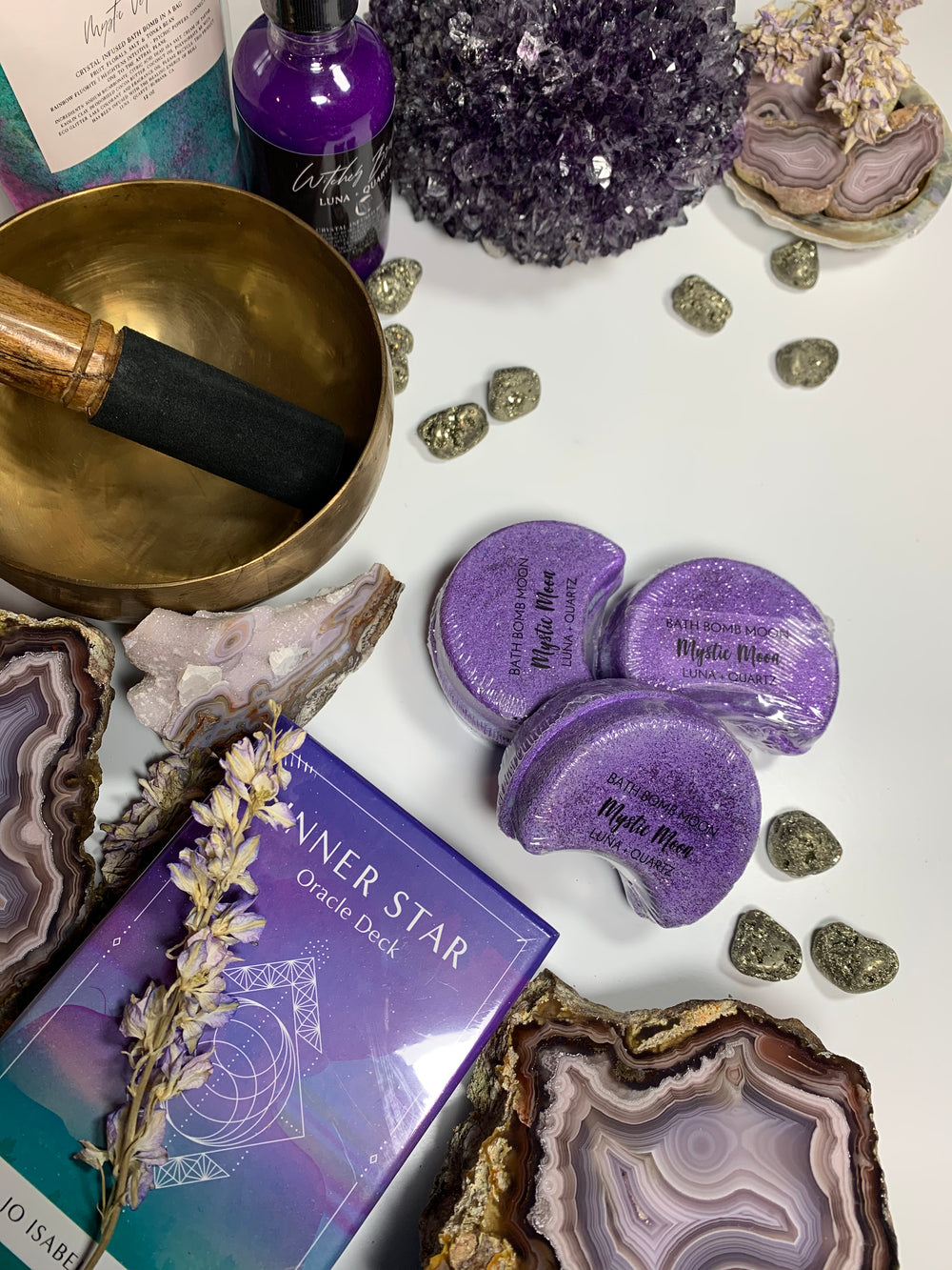 Inner Star Oracle with Laguna Agates, Amethyst Crystal Cluster, Brass singing bowls, and Luna and Quartz bath ritual goods from Mountain Hollow Crystals