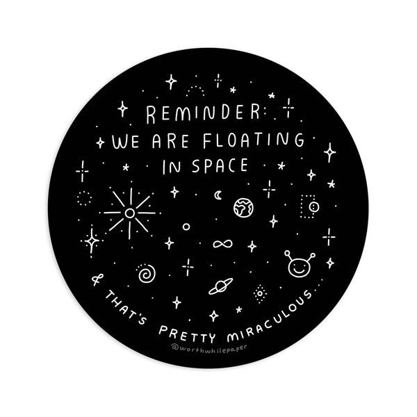 Floating in Space Die Cut Sticker
