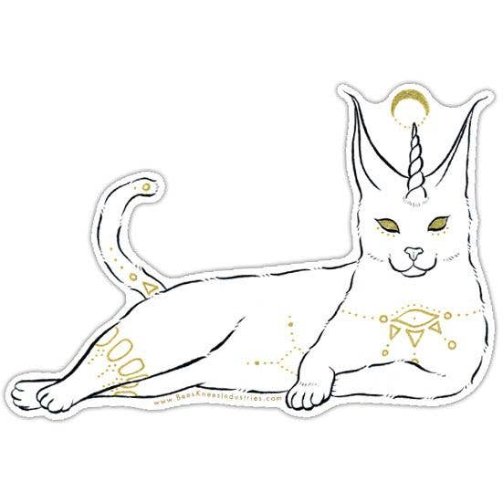 Fantastical Caracal Cat Vinyl Sticker