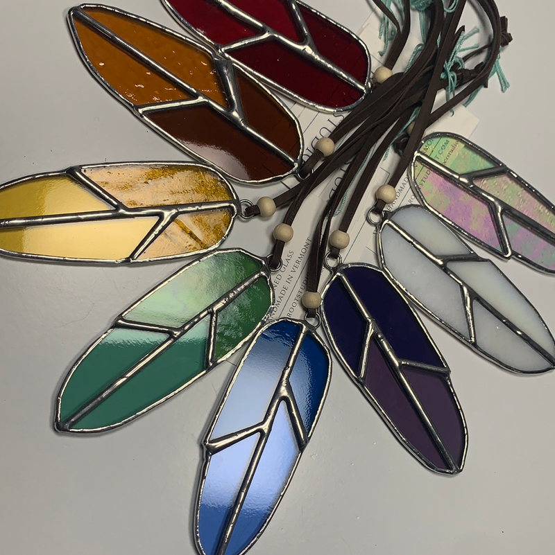 Hand Crafted Stained Glass Feathers