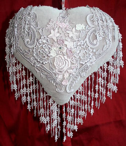 Victorian Inspired Velvet Heart Cushion