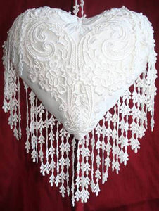 Butterfly and Lace Cream Silk Heart Cushion