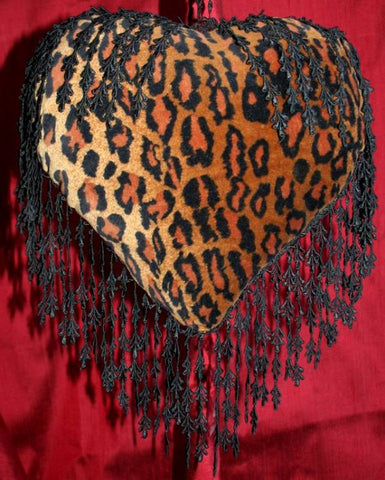 Velvet Leopardskin Heart Cushion