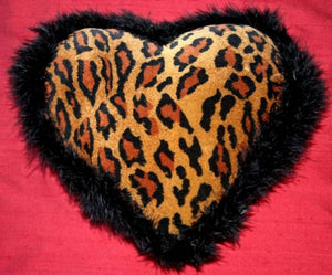 Maribou Trimmed Velvet Leopardskin Heart Cushion