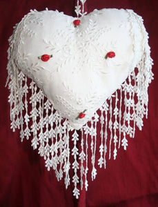 Romantic Rosebud Silk Heart Cushion