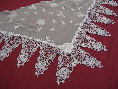 Rose Embroidered Silk Shawl
