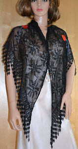 Black Shawl with Red Roses