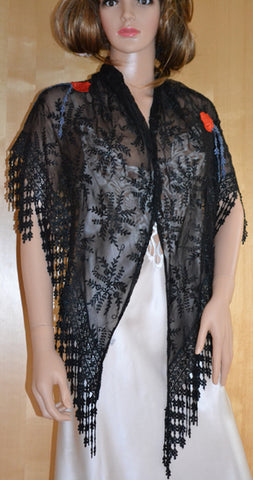 Black Shawl with Red Roses - SH414