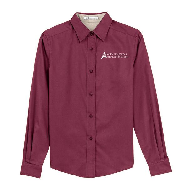 STHS Ladies Button Down Long Sleeve- Burgundy