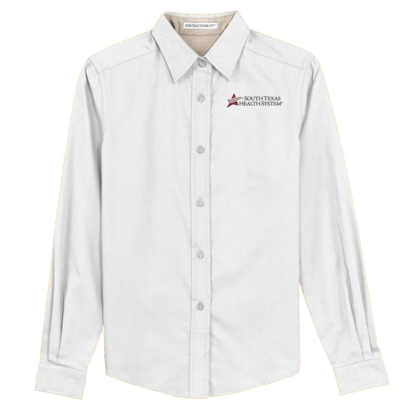 STHS Ladies Button Down Long Sleeve- White