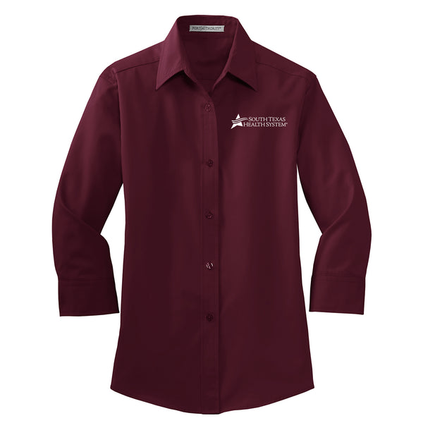 STHS Ladies 3/4 Length Sleeve Button Down - Burgundy