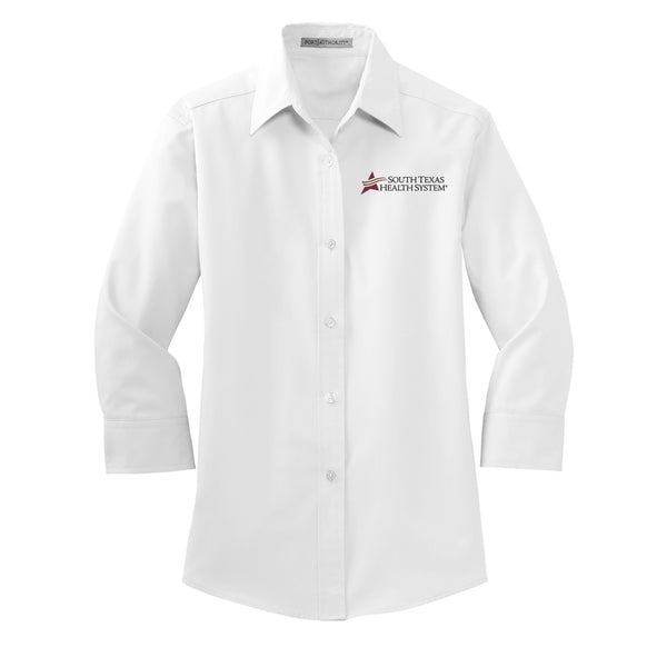 STHS Ladies 3/4 Length Sleeve Button Down - White