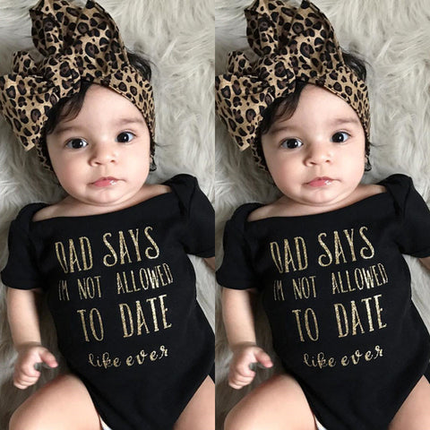 "Trendy Baby ""dad says i am not allowed to date"" Leopard casual set"