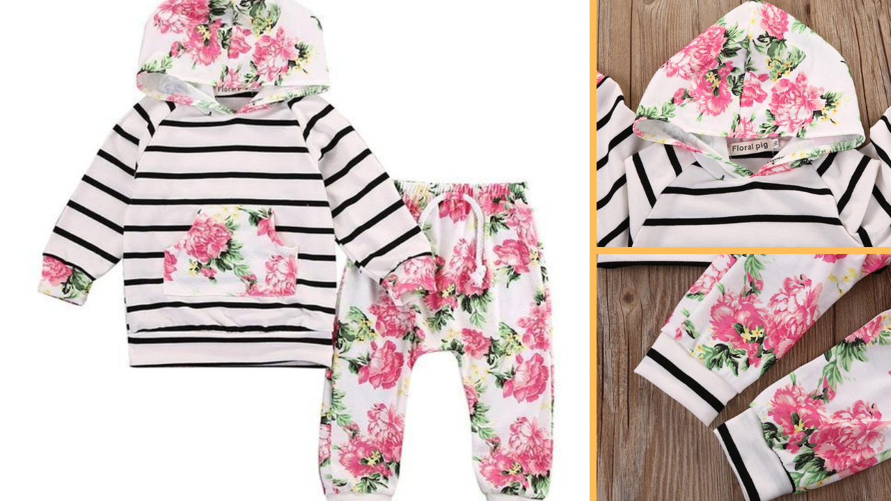 Gorgeous Floral and Stripes Harem and Hoody Set