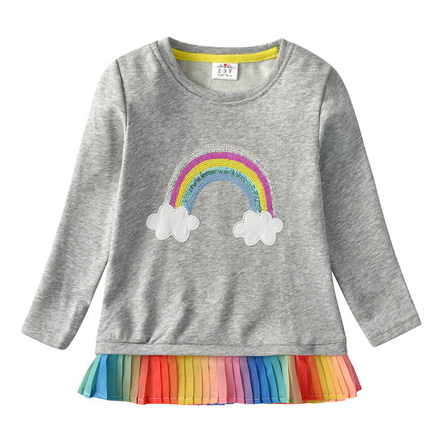 Girl's Long Sleeve Rainbow Tops
