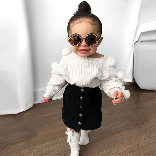 Baby Girl's Knitted Pompom Sweater + Button Mini Skirt