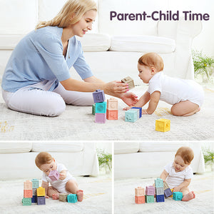 12 Pcs Rubber Coated Teething Building Blocks