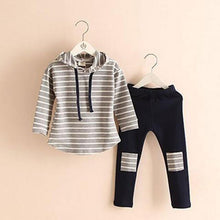 Load image into Gallery viewer, Classic 2-pc Striped Hoody Leg Patch Leggings Set