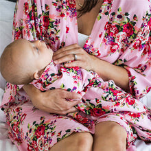 Load image into Gallery viewer, 'Comfort' Aqua Floral Double-Sided Swaddle Set