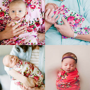 'Comfort' Aqua Floral Double-Sided Swaddle Set