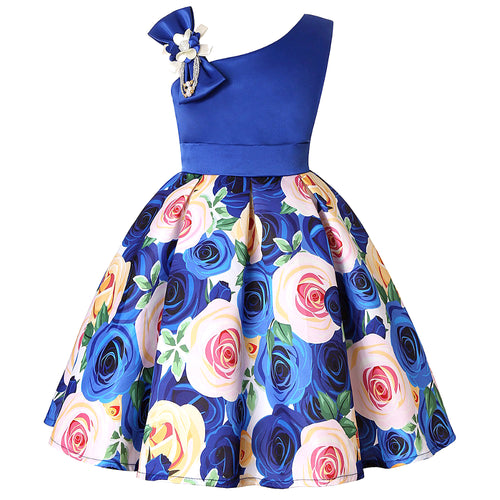 Charming Floral Bow Baby Girl Birthday Dress