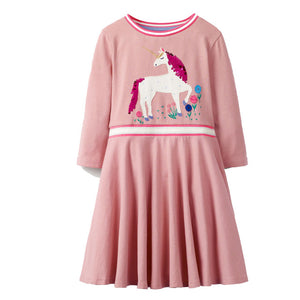 Fancy Unicorn Animal Appliques Girls' Christmas Outfit