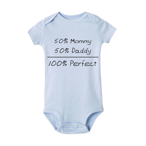 '50%mommy+50%daddy=100% Perfect' Baby Casual Outfits