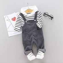 Load image into Gallery viewer, Toddler Boy  'Bib' Striped Hoodie + Overall Set