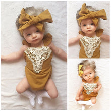 Load image into Gallery viewer, 'Julia' Mustard Baby Girl Romper w/ Headband