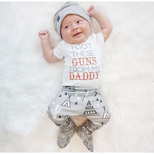 Load image into Gallery viewer, 'I Got These Guns From My Daddy' Newborn 3-PC Clothing Set