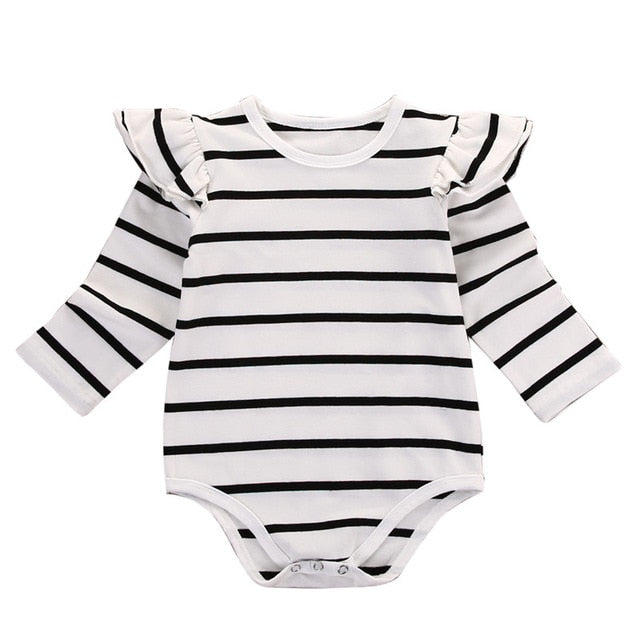 Infant Baby Long Sleeve Striped Rompers