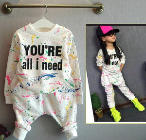 Hip-Hop Style 80's Splash 2-PC Sweatshirt + Pant Set
