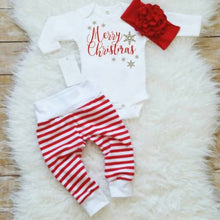 Load image into Gallery viewer, Merry Christmas 3Pcs Baby Clothing set